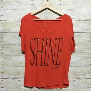 "Express metallic ""Shine"" tee graphic tee, sz. M"